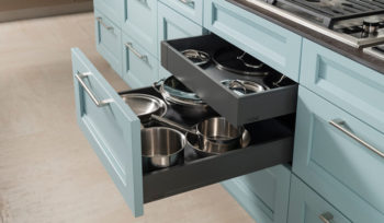 wood-mode custom kitchen cabinetry two tier pan drawer